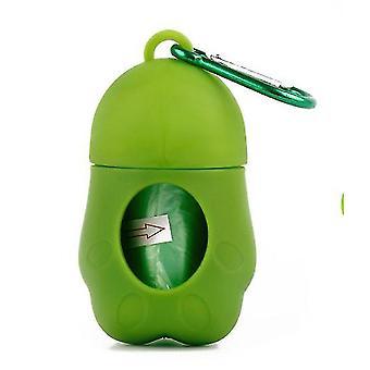 Contenedor portátil de la bolsa de basura para mascotas para gatos y perros (verde)