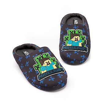 Minecraft Slippers Boys | Kids Surrounded Blue Steve Creeper Sword House Shoes | Slip On Footwear Minecraft Gifts