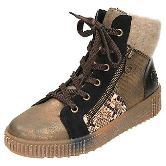 Rieker Flat Lace Up Ankle Boots Y6421-25 Metallic