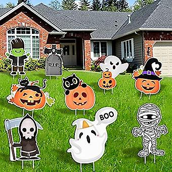 9pcs Halloween Decorations Outdoor-yard Signs With Stakes,halloween Decor Large Pumpkin Skeleton And Ghost Corrugate Trick Or Treat Yard Signs Hallowe
