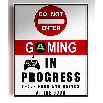 GnG Gaming A5 Word Citat Indrammet Plakater for Kids Soveværelser Artwork IKKE ENTER XB