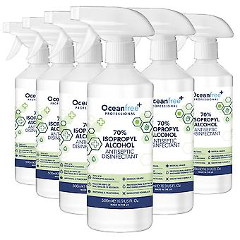 IPA Disinfectant Rubbing Isopropyl Alcohol Hand Sanitiser - 500ml Spray Bottle x6 - Certified Surgical / Medical Grade - Made in the UK