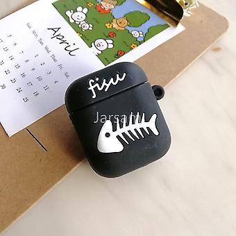 Schattige cartoon 3d siliconen oortelefoon hoesjes voor airpods 1 2 (Blackfishbone)