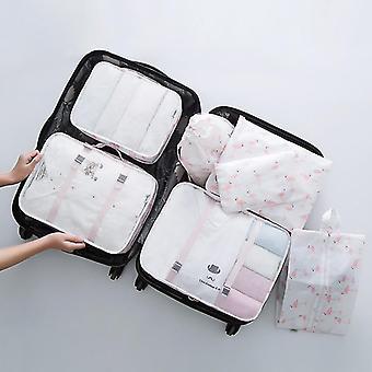 Ensemble de 7 pièces de cubes et de pochettes d'organisateur de voyage d'emballage de bagages (Flamant blanc)
