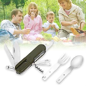 3pcs Camping Folding Cutlery Set Knife Fork Spoon Utensil Bottle Opener Tool