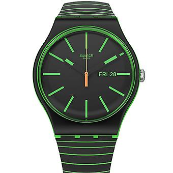Reloj Swatch So29g702 Glow This Way Neon Green And Black Silicone