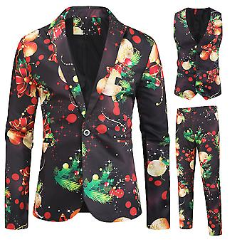Mile Men's Christmas Print Three-piece Single-breasted Suit (single West + Vest + Trousers) Green&red