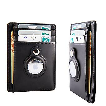 Slim Front Pocket Leather Wallet With Built-in Case Holder For Airtag