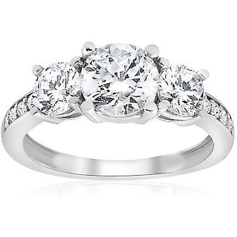 1 1 / 2ct trois pierres rondes Diamond Engagement Ring 14K White Gold
