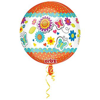 Amscan Get Well Soon Floral/Butterfly Supershape Orbz Balloon