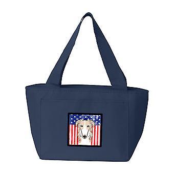 Carolines trésors BB2158NA-8808 drapeau américain et le sac à Lunch Barzoï