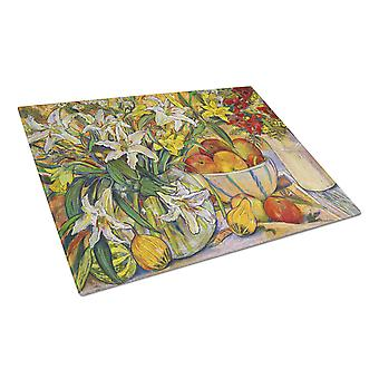 Fruit, Flowers and Vegetables Glass Cutting Board Large