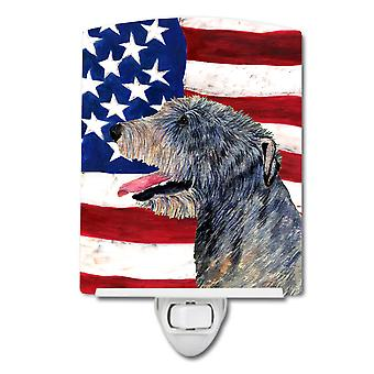 USA American Flag with Irish Wolfhound Ceramic Night Light