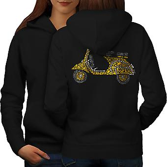 Motorbike Scooter Biker Women BlackHoodie Back | Wellcoda