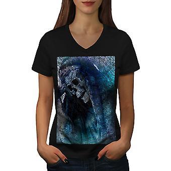 Death Skull Grim Women BlackV-Neck T-shirt | Wellcoda