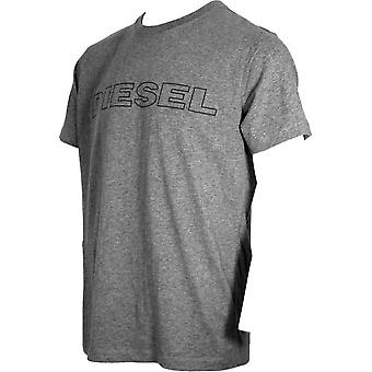 Diesel Outline Logo Crew-Neck T-Shirt, Grey Marl