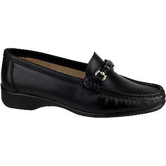 Cotswold damer Barington Smart läder Moccasin sko svart