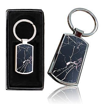 i-Tronixs - Premium Marble Design Chrome Metal Keyring with Free Gift Box (2-Pack) - 0057