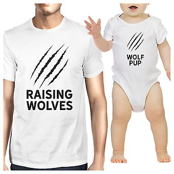 Verhogen van wolven schattig vader babymeisje bijpassende Shirt Wit Baby Romper