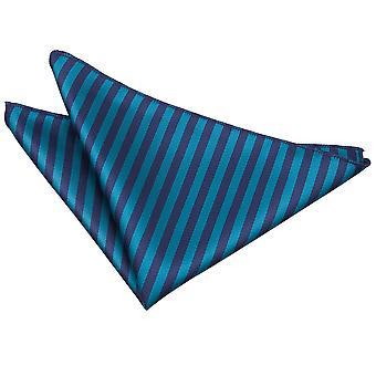 Marineblå & krikand tynd stribe Pocket Square