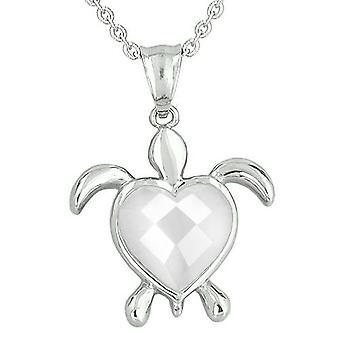 Lucky Charm Schildkröte Herz Befugnisse Amulett Weiße Katzen Auge facettierten Edelstein magische Anhänger Halskette