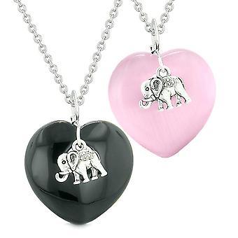 Heldig elefant Charms kærlighed par eller bedste venner amuletter agat Pink simulerede Cats Eye halskæder