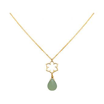 Ladies - necklace - pendant - 925 Silver - gold plated - Lotus Flower - mandala - chalcedony - drops - green - YOGA - 45 cm
