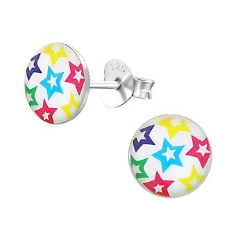 Stars - 925 Sterling Silver Colourful Ear Studs - W19693x