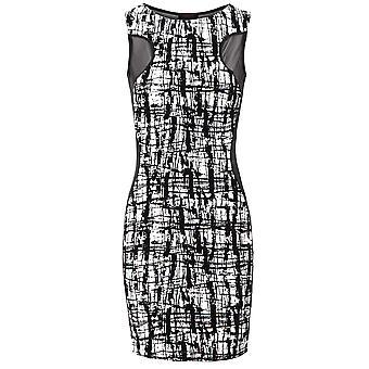 Nova malha sem mangas de senhoras inserir Bodycon Dress rebanho padrão feminino