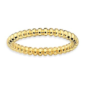 925 Sterling Silver Polished Patterned Stackable Expressions 14k Gold Plated Beaded Ring Jewelry Gifts for Women - Ring