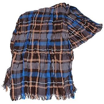 Knightsbridge Neckwear Check Cotton Scarf - Blue/Brown