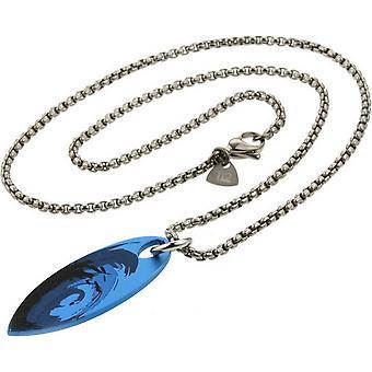 Ti2 Titanium Surfboard Wave Pendant - Silver/Blue