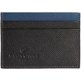Simon Carter Colour Strip Credit Card Holder - Black/Blue