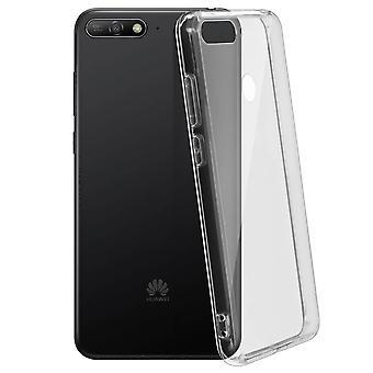 Stoere achterzijde duidelijk geval + schok absorberende silicone bumper Honor 7A/Huawei Y6 2018