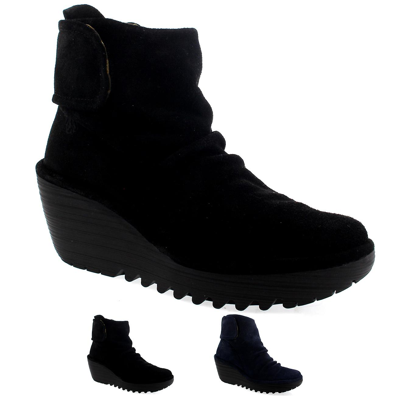 0bc5c56ad77c2 Womens Fly London Yegi Wedge Heel Suede Velcro Casual Winter Ankle Boots