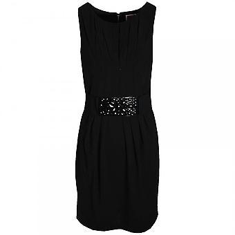Nue By Shani Sleeveless Beaded Belt Pleat Dress