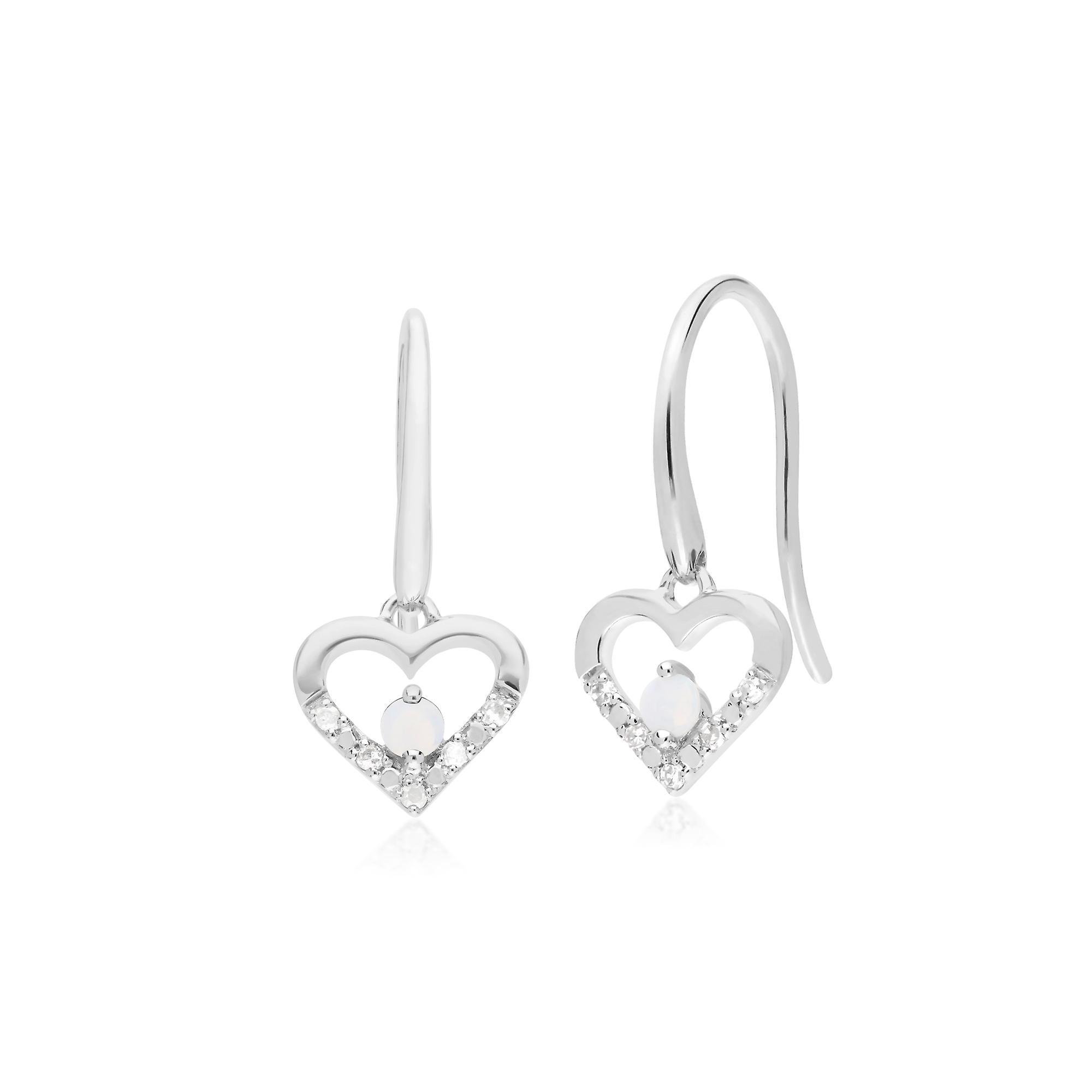 Gemondo 9ct White Gold Single Opal & Diamond Heart Drop Earrings