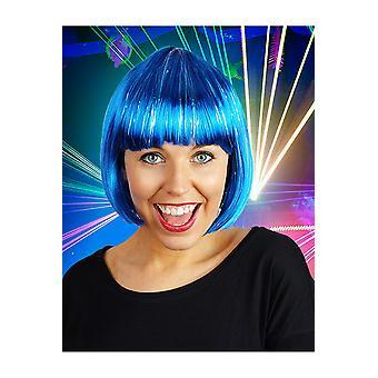 Perruque de perruques bob bleu avec paillettes