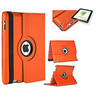 Für Apple iPad Pro 12.9 2018 3. Gen 360 Grad Hülle Cover Tasche Orange Kunst Leder Case Neu + 0,4 mm Hart Glas