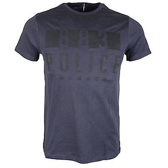 883 Police Enego Slim Fit Round Neck Navy T-shirt