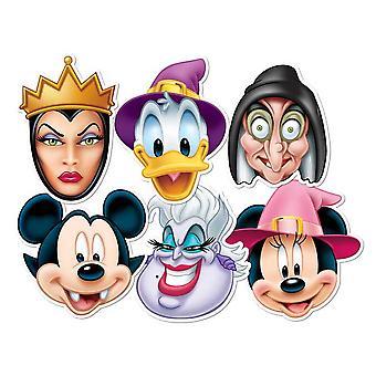 Mikki Hiiri ja ystävät Halloween-kortti Fancy Mekko Naamarit Set of 6 (Mickey, Minni, Donald, Ursula, Wicked Witch ja Wicked Queen)