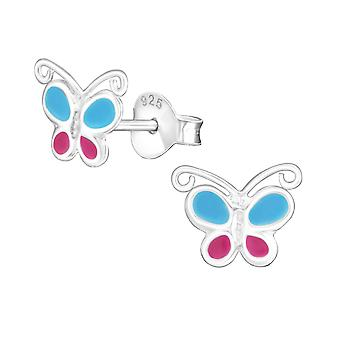Butterfly - 925 Sterling Silver Colourful Ear Studs - W16911x