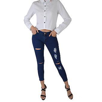 Lovemystyle Dunkelblaue Skinny-Jeans mit notleidenden Rips - Probe