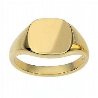 9ct Gold 13x13mm solid cushion Signet Ring Size S