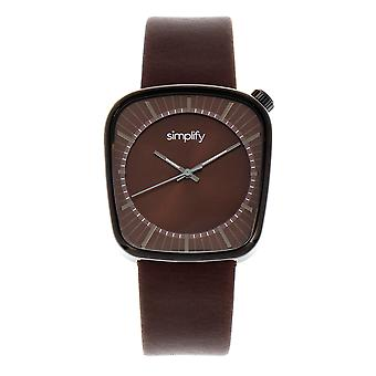 Simplify The 6800 Leather-Band Watch - Black/Brown