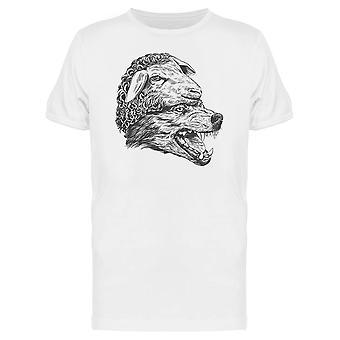Wolf-Kunst und Schafe T-Shirt Herren-Bild von Shutterstock