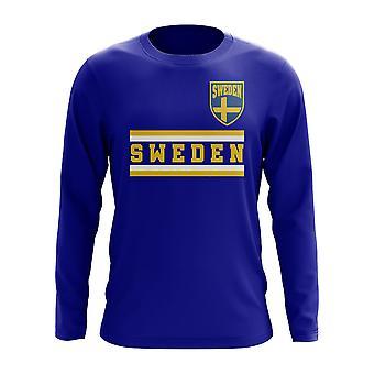 Zweden Core voetbal land lange mouw T-Shirt (Royal)