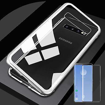 עבור Samsung Galaxy S10 G973F 6.1 אינץ מגנט/מתכת/מקרה זכוכית מקרה כסף/שקוף + 0.3 mm H9 4D מלא מעוקל מעוגל זכוכית קשיח