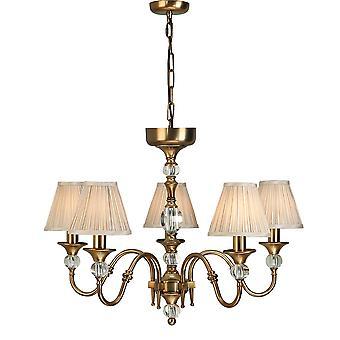 Polina antiguo bronce cinco luz techo colgante con tonos Beige - interiores 63587 1900