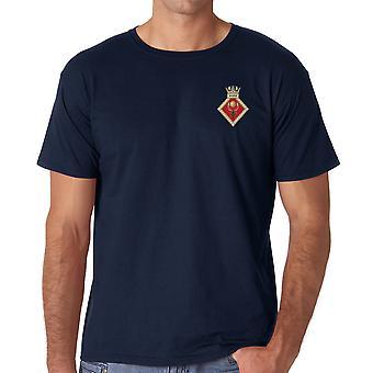 HMS Raleigh bordado logotipo - camisa de algodão da Marinha Real oficial T